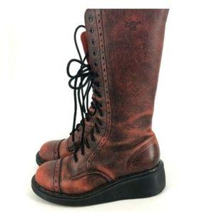 Dr Marten Red Wedge Heel Brogue Cap Toe Lace Up